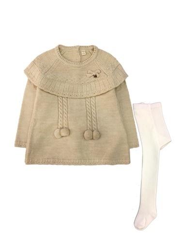 By Leyal For Kids  Bebe Yaka Triko Elbise (Sırt Komple Düğmeli) Ve Çorap Set-7053 Bej